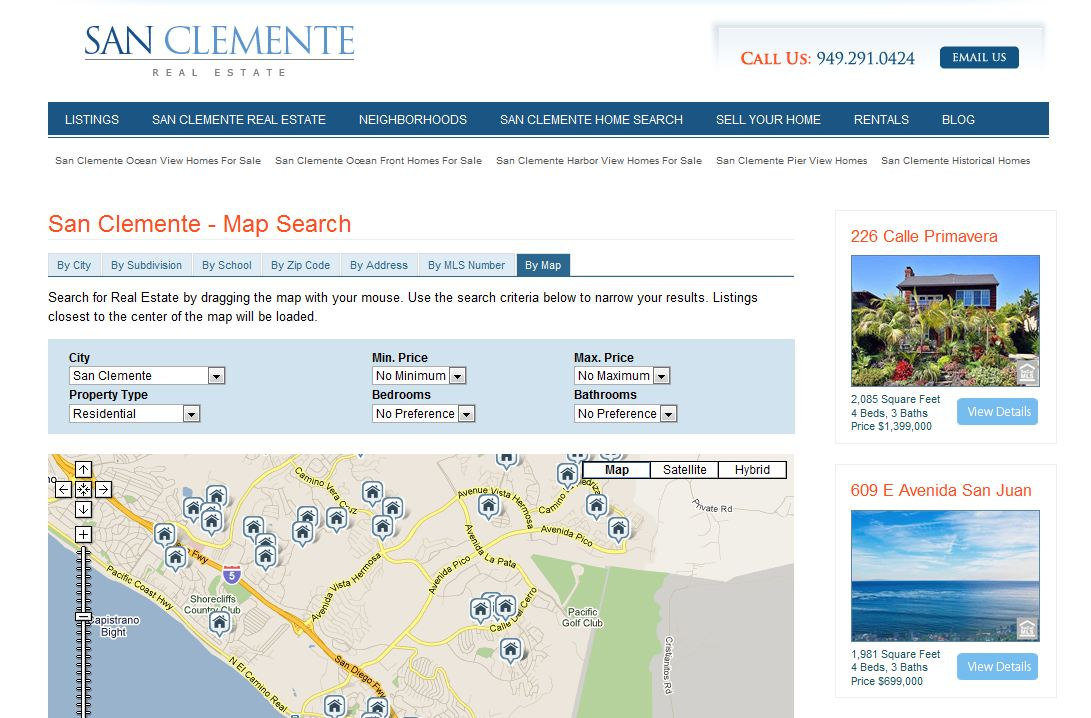 San Clemente Map Search | San Clemente Homes For Sale
